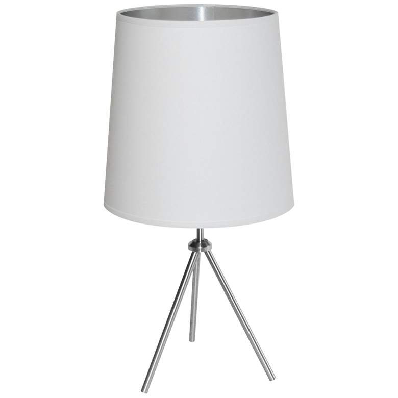 "Finesse 30"" High Chrome Table Lamp with White-Silver"