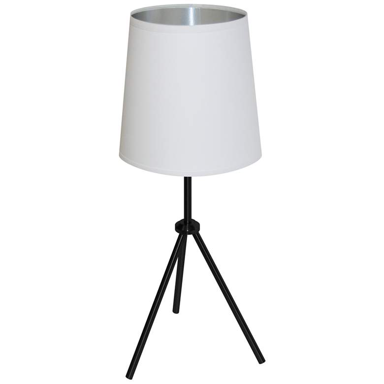 """Finesse 30"""" High Black Table Lamp with White-Silver Shade"""