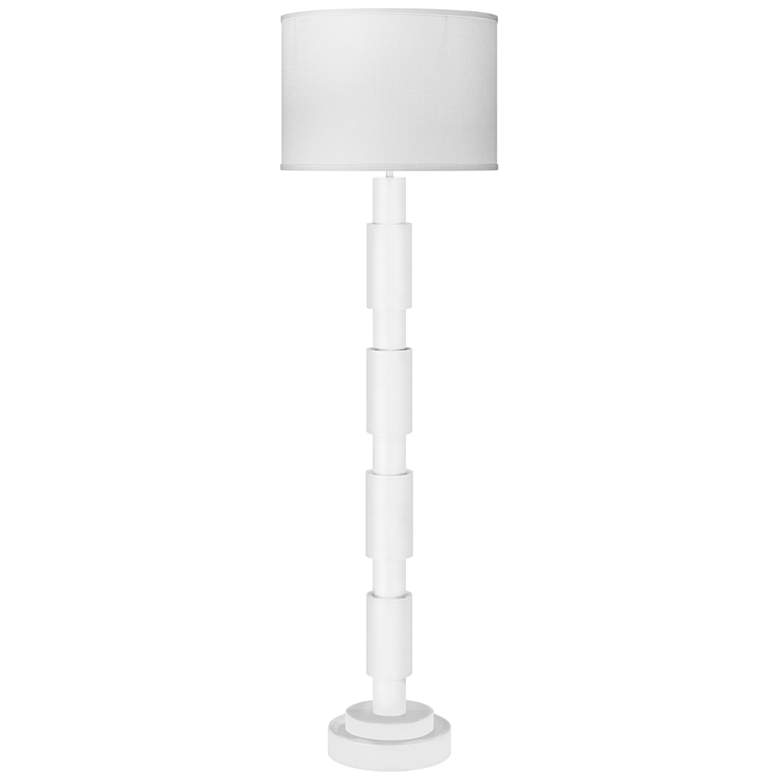 Jamie Young Quinn White Lacquer Metal Column Floor Lamp