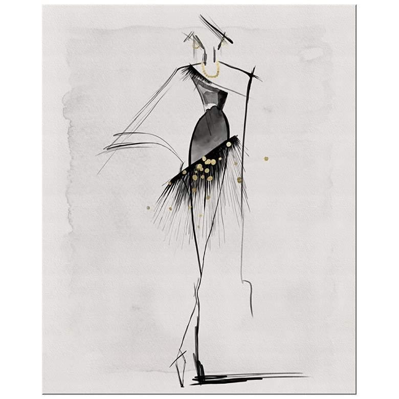 "Black Gown Sketch 20""H Rectangular Giclee Canvas Wall Art"