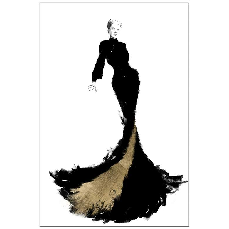 """Black and Gold Gown 20"""" High Giclee Canvas Wall Art"""