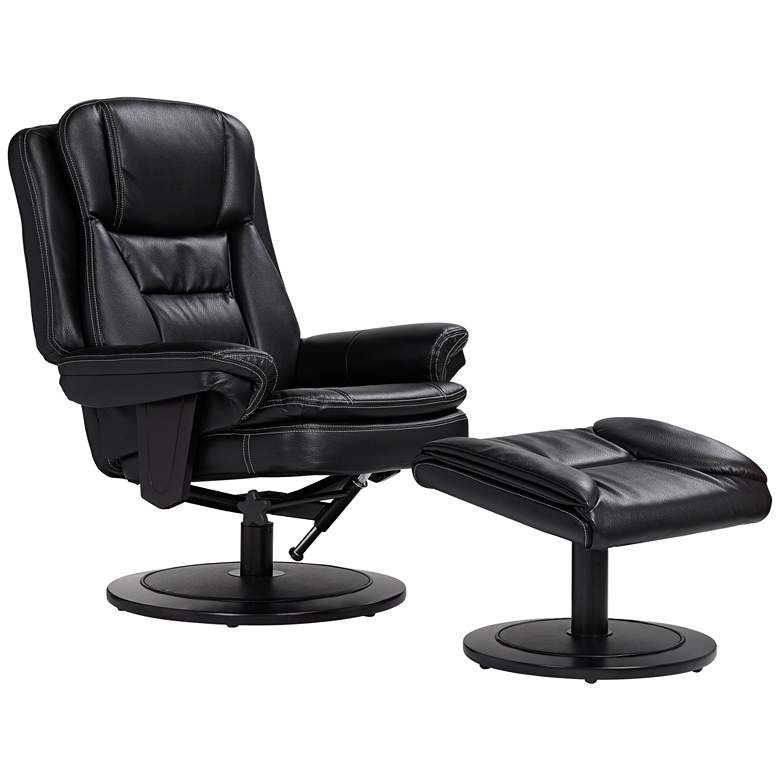 Aden Faux Leather Black Recliner Chair and Ottoman