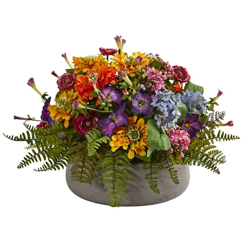 """Mixed Floral 14""""W Artificial Arrangement in Stone Planter"""
