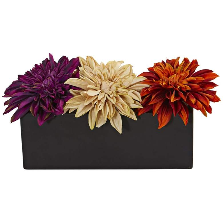 "Assorted Dahlia 15"" Wide Faux Flowers in Black Planter"