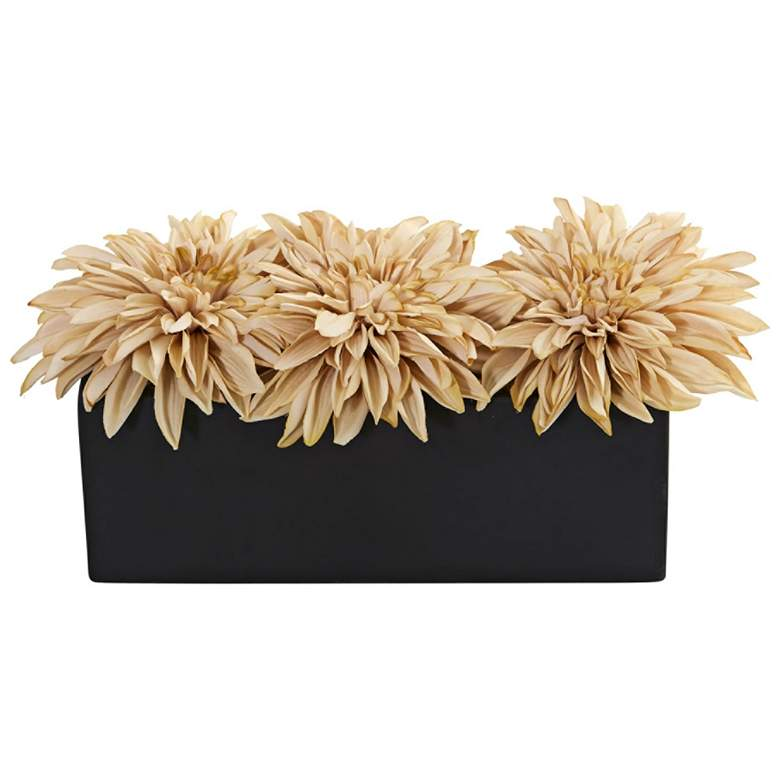 "Cream Dahlia 15"" Wide Faux Flowers in Black"