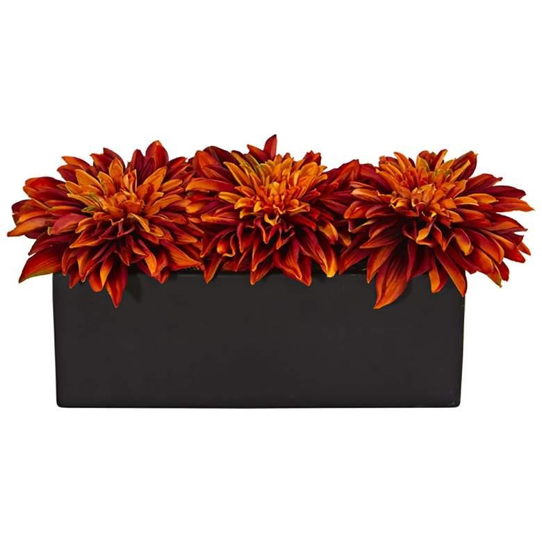 """Orange Dahlia 15"""" Wide Faux Flowers in Black Planter"""
