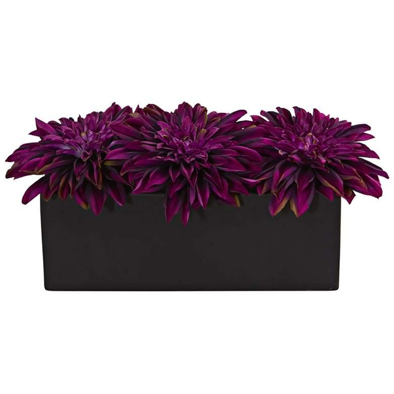 """Purple Dahlia 15"""" Wide Faux Flowers in Black Planter"""