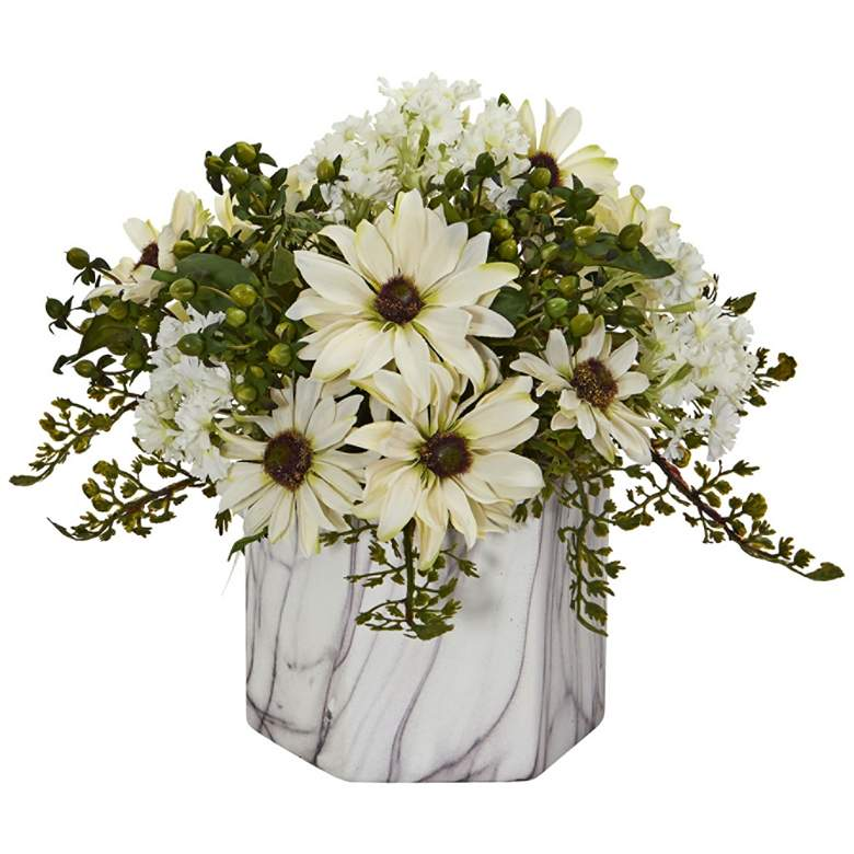 "Cream Daisy 10"" High Faux Flowers in Marble Vase"