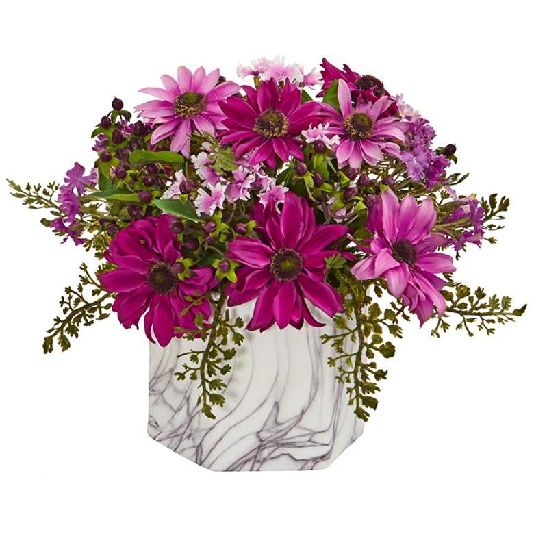 """Pink Daisy 10"""" High Faux Flowers in Marble"""