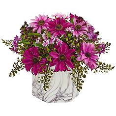 """Pink Daisy 10"""" High Faux Flowers in Marble Vase"""