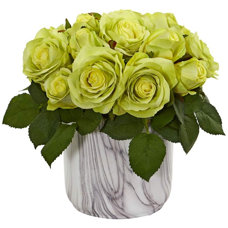 """Green Rose 10"""" High Faux Flowers in Marble Vase"""