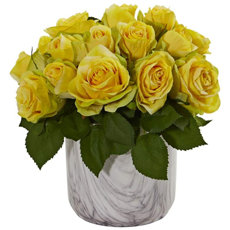 """Yellow Rose 10"""" High Faux Flowers in Marble Vase"""