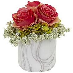 """Dark Pink Rose and Hydrangea 8""""H Faux Flowers in Marble Vase"""
