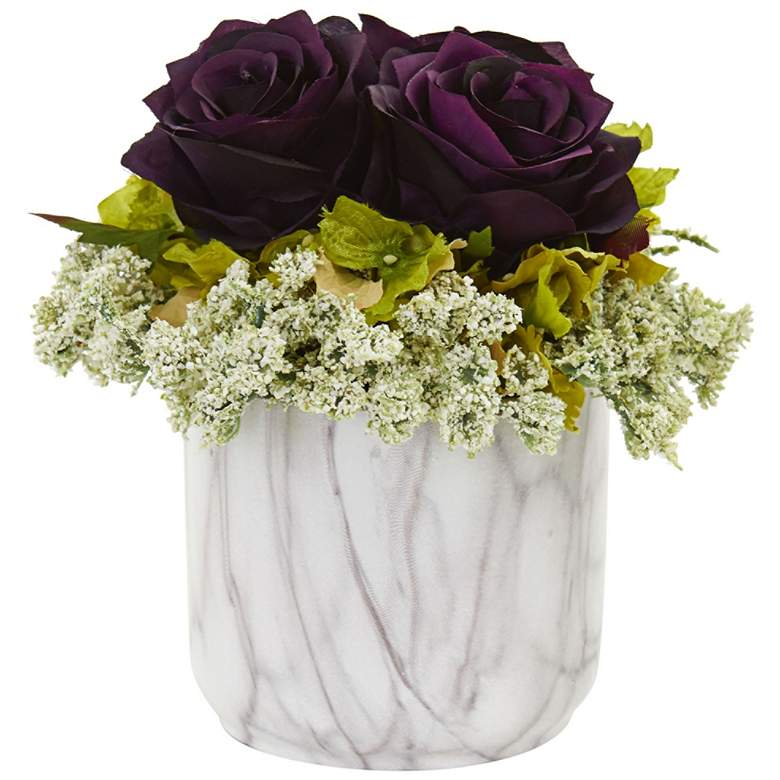 """Purple Rose and Hydrangea 8""""H Faux Flowers in Marble Vase"""