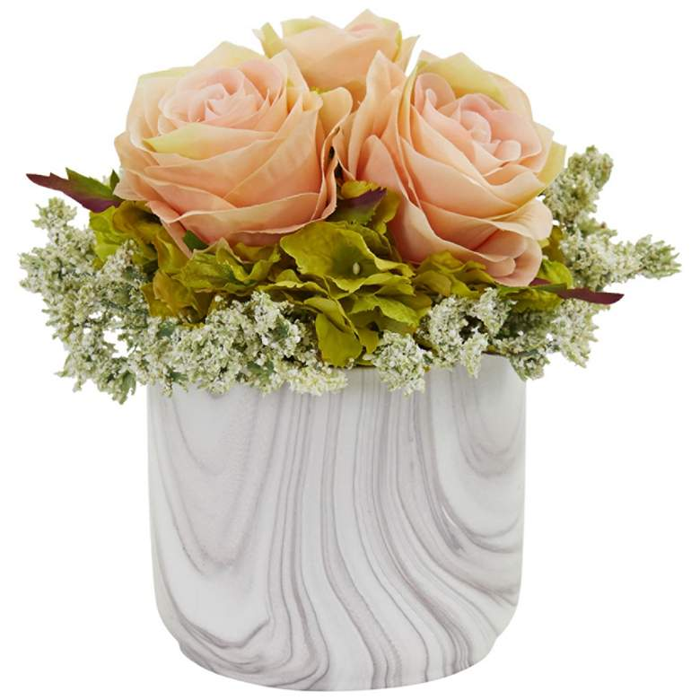 "Peach Rose and Hydrangea 8""H Faux Flowers in"