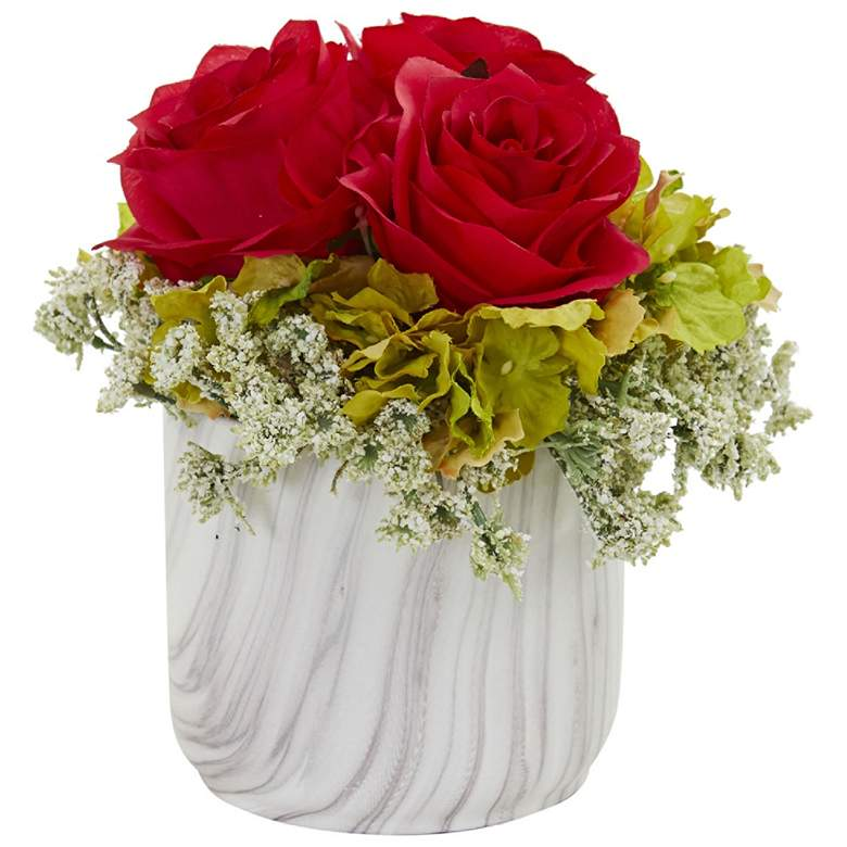 """Red Rose and Hydrangea 8""""H Faux Flowers in Marble Vase"""
