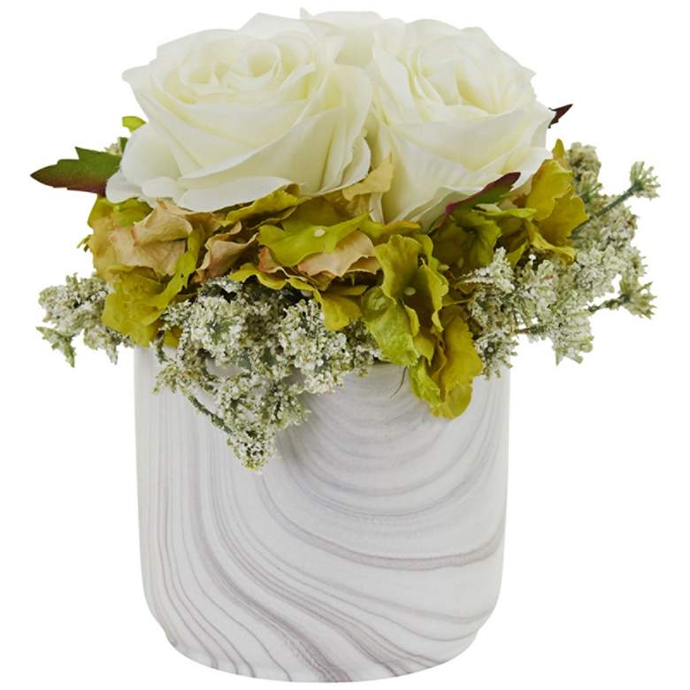 """White Rose and Hydrangea 8""""H Faux Flowers in Marble Vase"""