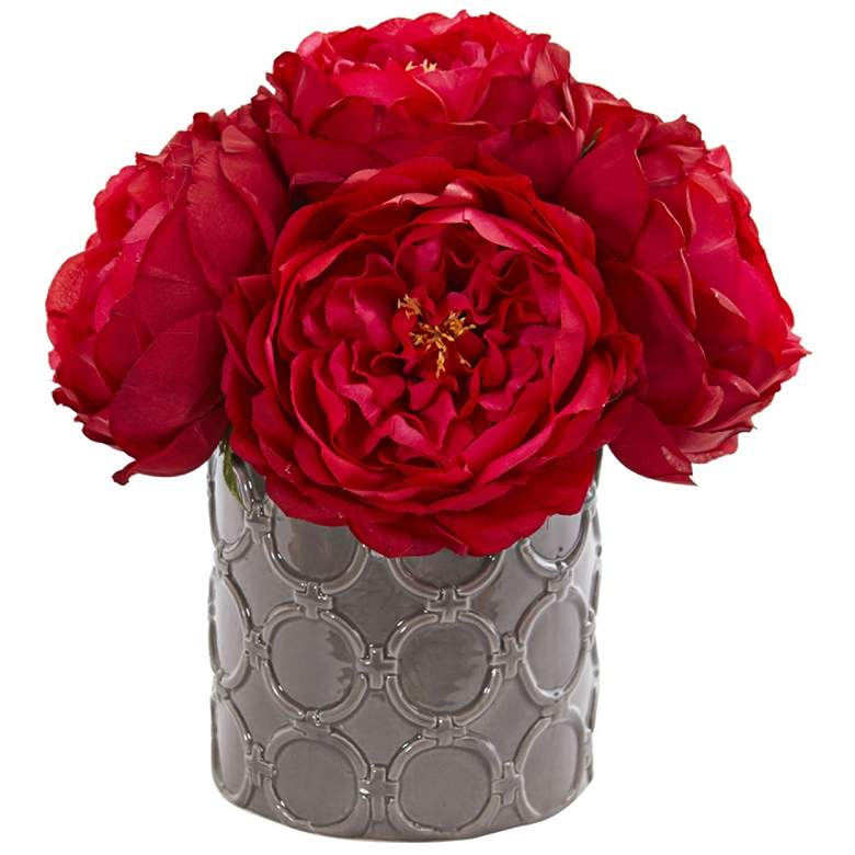 """Large Red Rose 10"""" High Faux Flowers in Gray Ceramic Vase"""