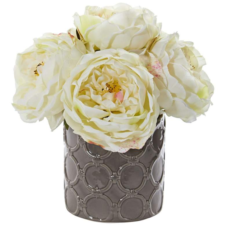 "Large White Peony 10"" High Faux Flowers in Gray Ceramic Vase"