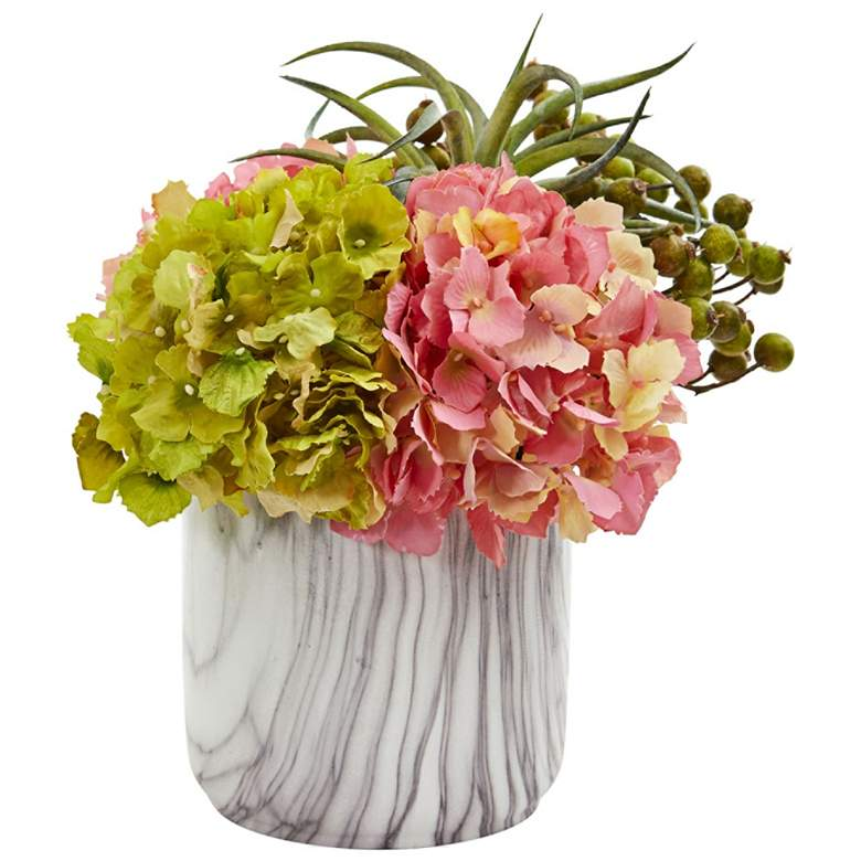 """Pink Hydrangea and Berries 11""""H Faux Flowers in Marble Vase"""