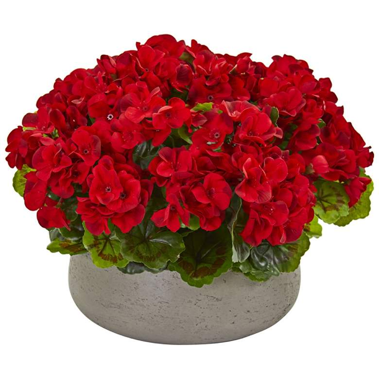 "Red Geranium 16"" Wide Faux Plant in Stone Planter"