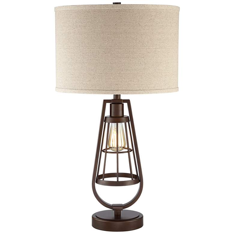 Topher Brown Metal Table Lamp with LED Night Light
