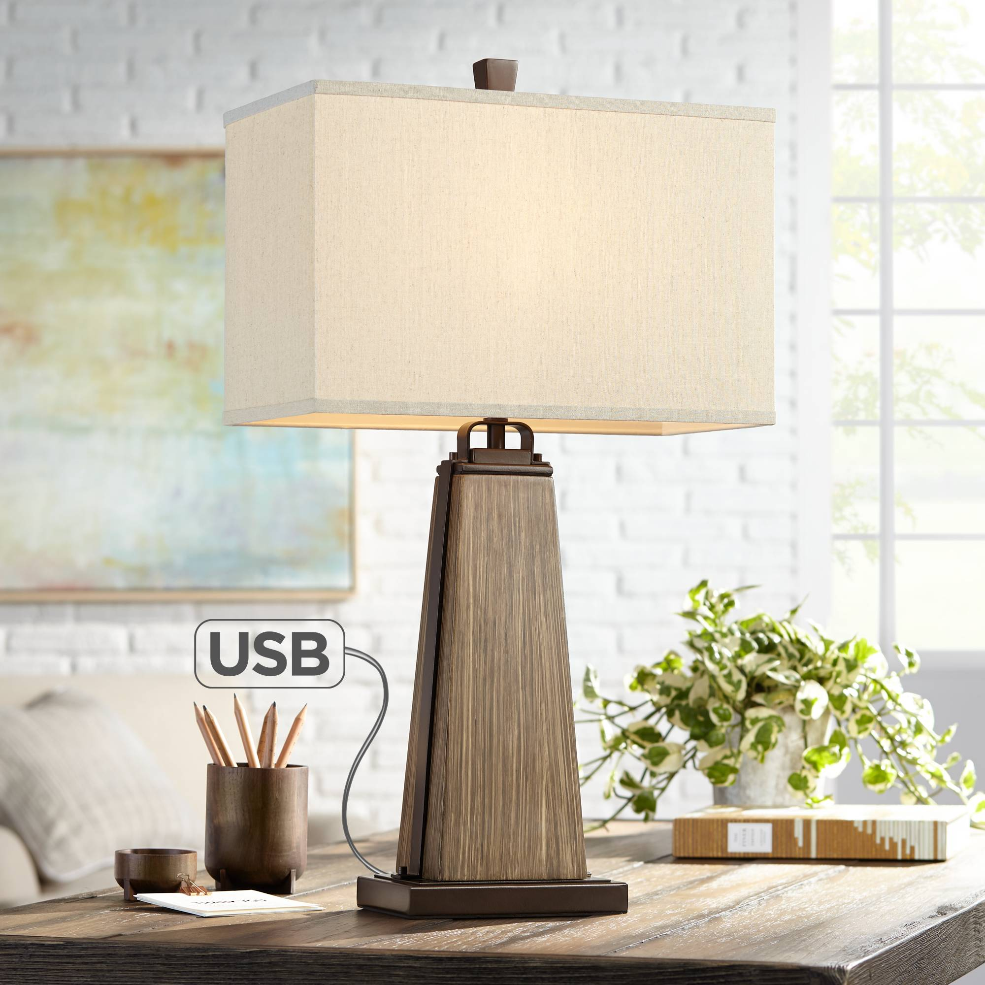 rustic farmhouse table lamp with usb port brown faux wood