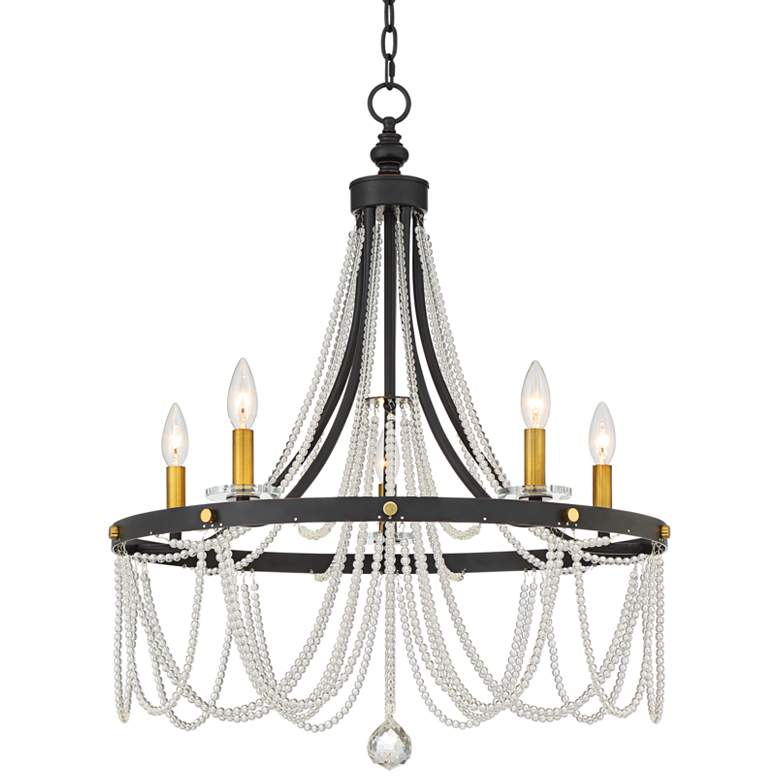 "Serena 24"" Wide Iron Gray 5-Light Chandelier"