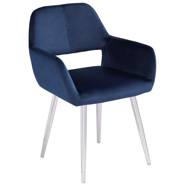 Martin Navy Blue Fabric Modern Dining Chair