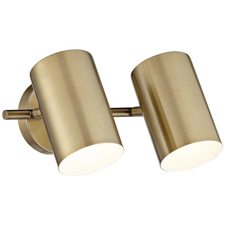 Carla Polished Brass 2-Head Hardwire Wall Lamp