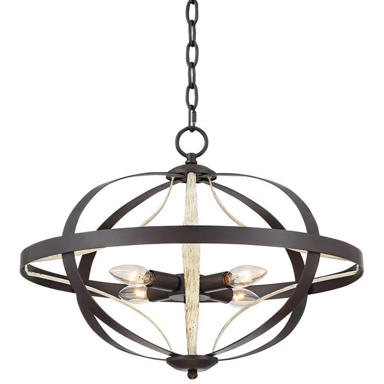 "Brielle 20"" Wide Oil-Rubbed Bronze 4-Light Orb Pendant Light"