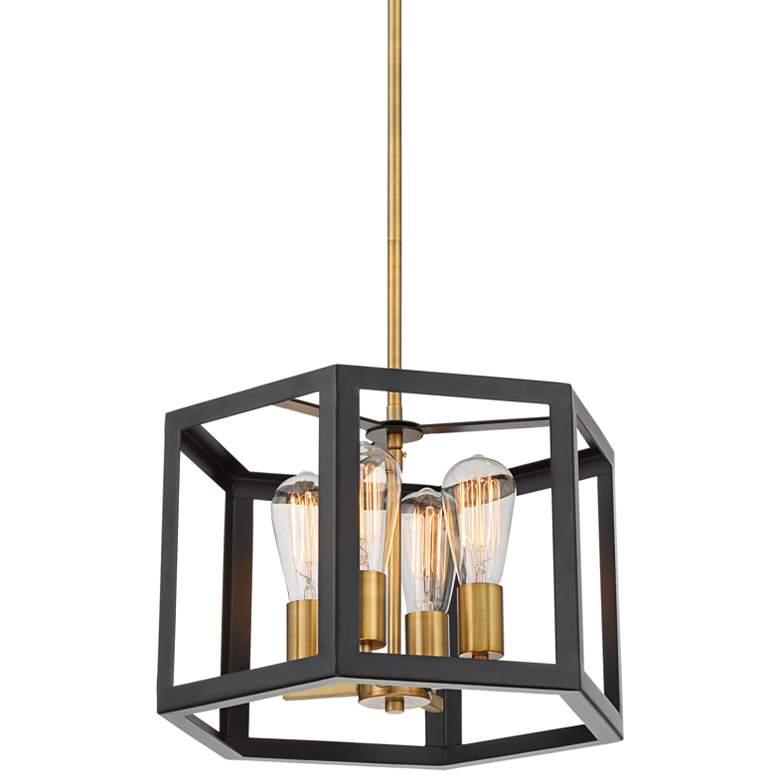 "Kendra 16"" Wide Antique Bronze Hexagon 4-Light Pendant"