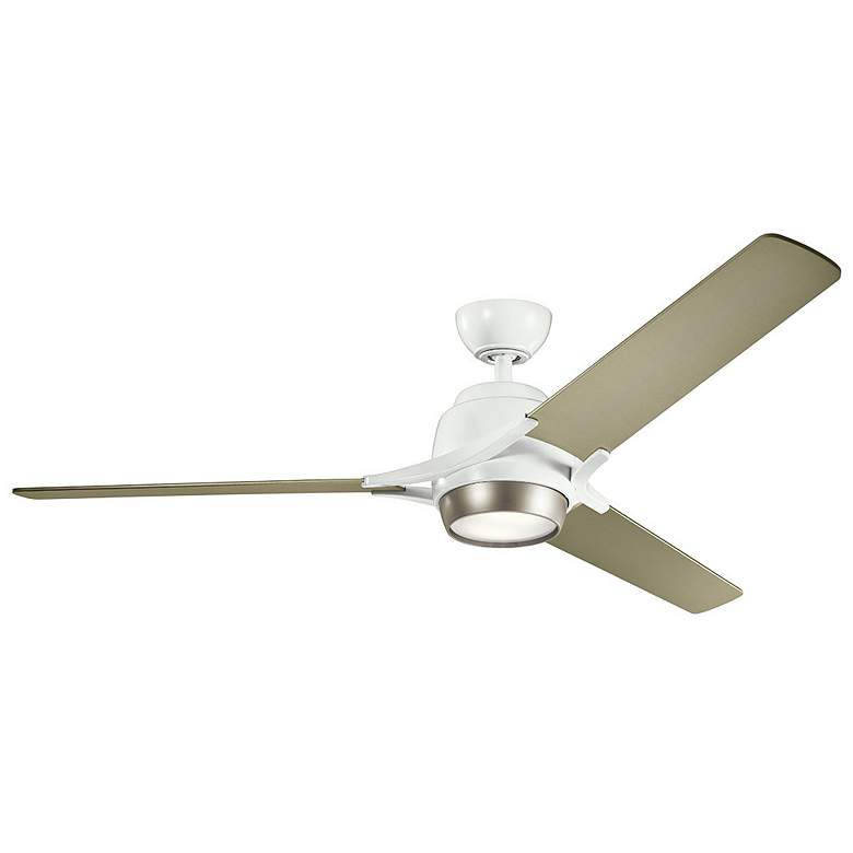 "60"" Kichler Zeus White and Silver LED Ceiling Fan"