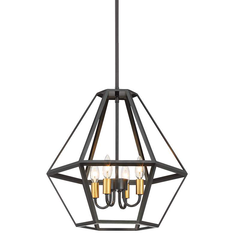 "Tanner 18"" Wide Bronze and Antique Brass 4-Light Pendant"