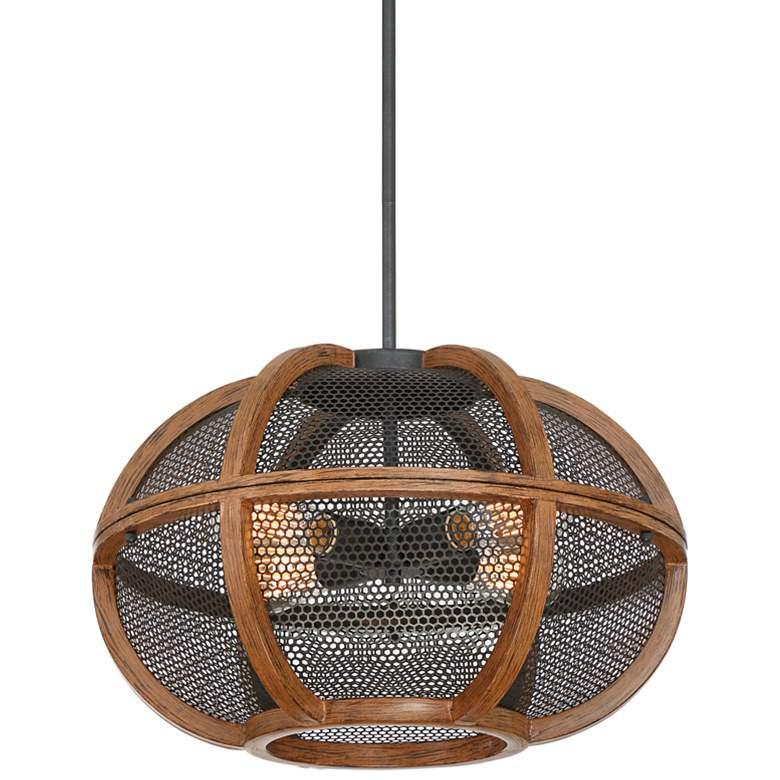 "Possini Euro Burwash 20""W 4-Light Brown Wood Pendant Light"
