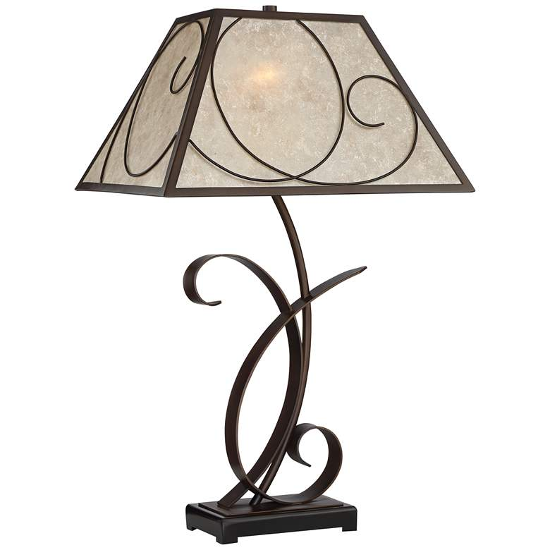 Teri Scroll Brown Table Lamp with Light Mica Shade