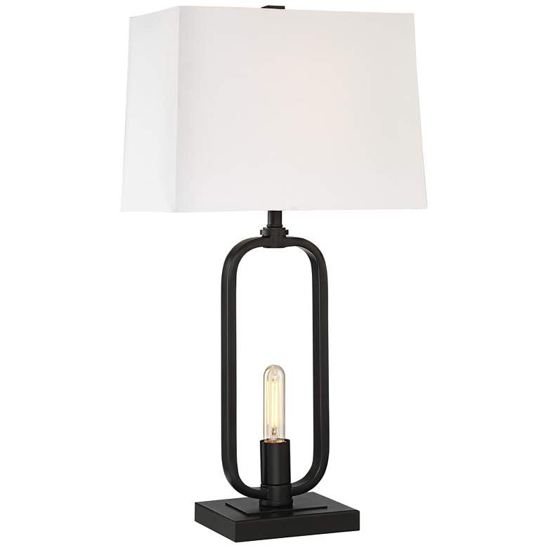 Shirley Black Metal Table Lamp with LED Night Light