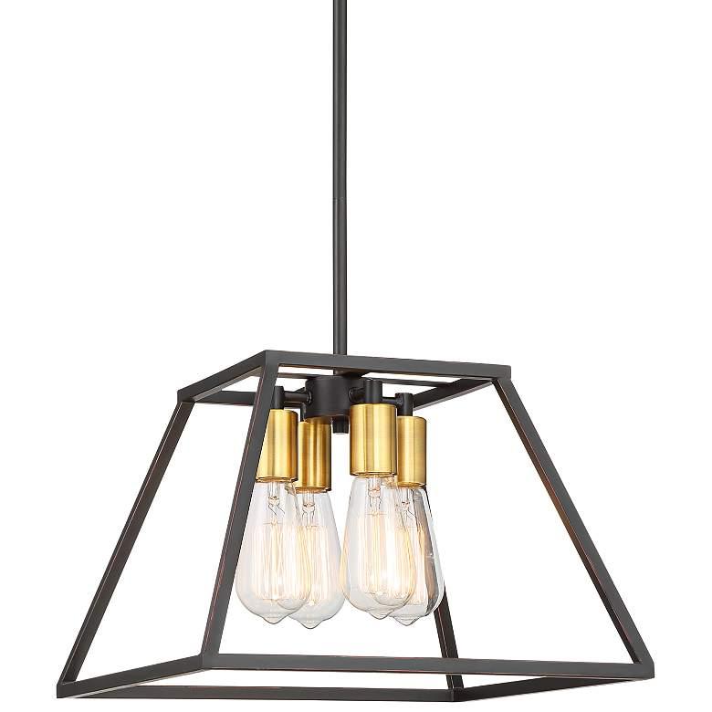 "Darcey 15"" Wide Antique Bronze 4-Light Pendant Light"