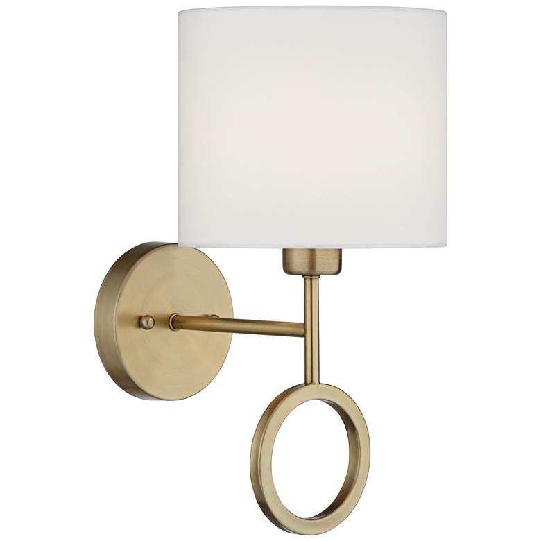 Amidon Warm Brass Drop Ring Hardwire Wall Lamp