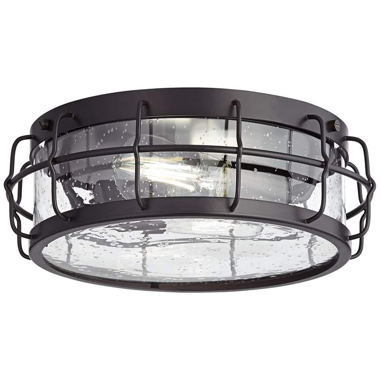 Oil Rubbed Bronze and Clear Seedy Glass LED