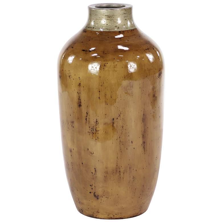 "Rustic 16"" High Rotund Glossy Brown Terracotta Floor Vase"