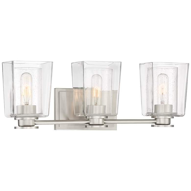 "Possini Euro Sonya 22"" Wide Double Glass 3-Light Bath Light"