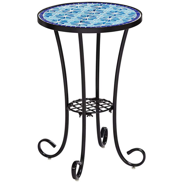 Blue Stars Mosaic Black Outdoor Accent Table