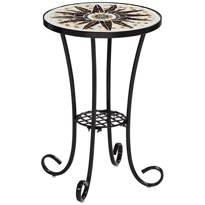 Sunburst Mosaic Black Outdoor Accent Table