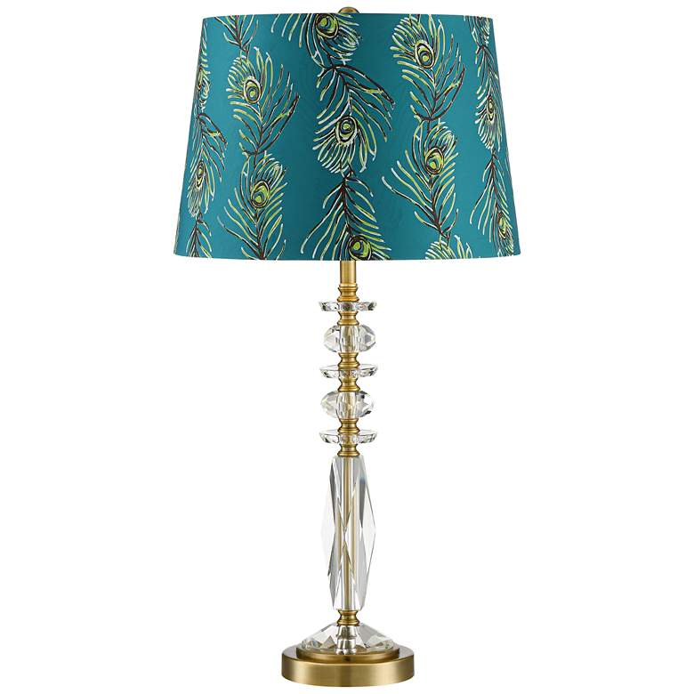 Pavone Crystal Table Lamp with Peacock Feather Print Shade