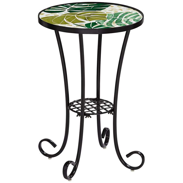 Tropical Leaves Mosaic Black Outdoor Accent Table