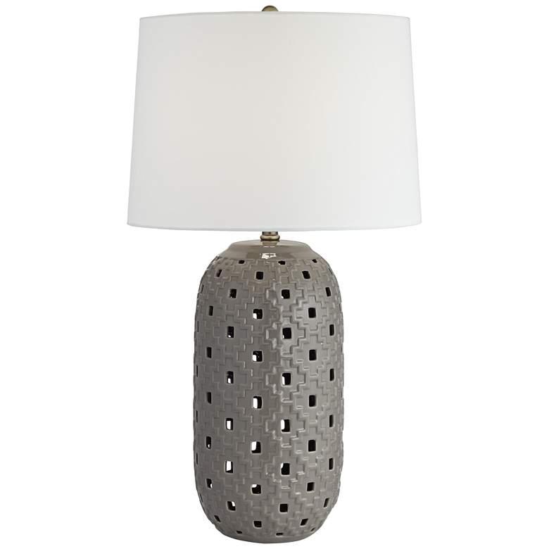 Possini Euro Daniel Gray Ceramic LED Night Light Table Lamp