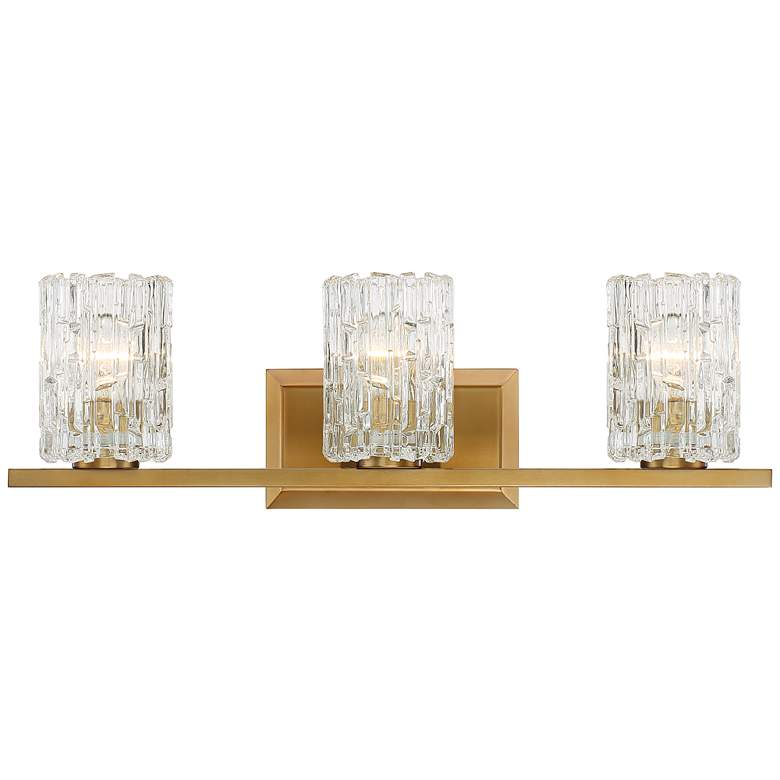 """Possini Euro Dyer 25""""W Ice Glass and Warm Brass Bath Light"""