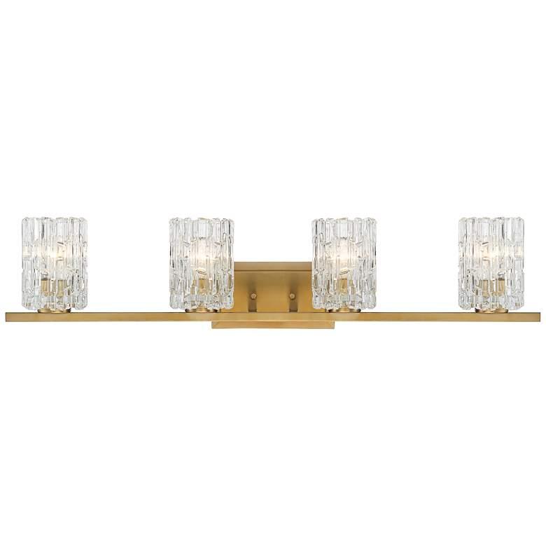 """Possini Euro Dyer 36""""W Ice Glass and Warm Brass Bath Light"""