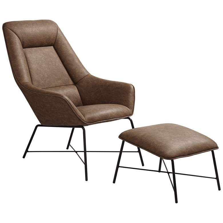 Hemingway Brown Faux Leather Lounge Chair with Ottoman